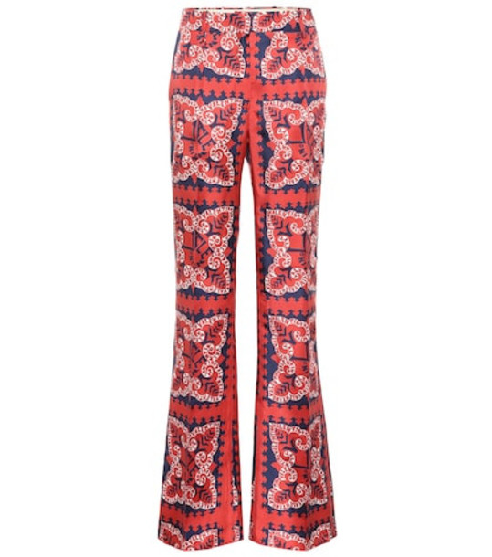 Valentino Mini Bandana silk twill pants in red