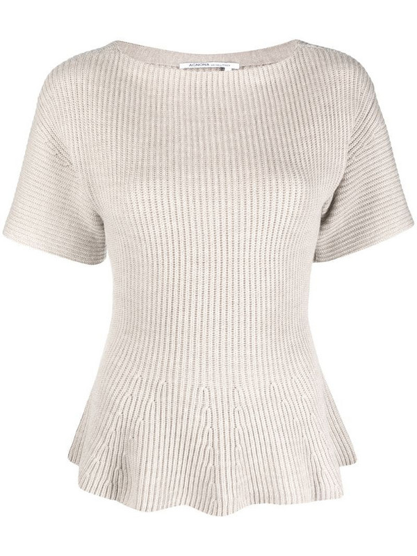 Agnona ribbed wool T-shirt in neutrals