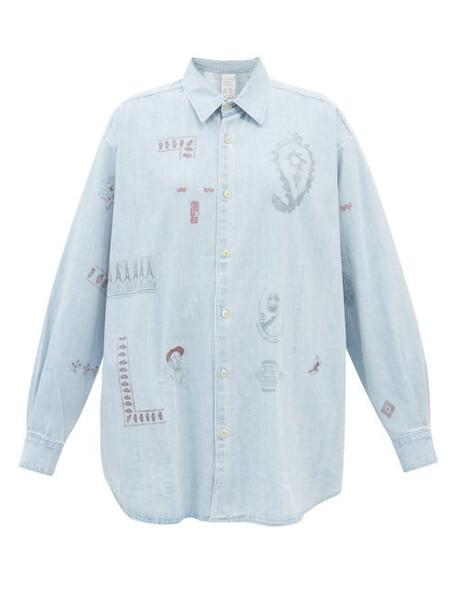 Kuro - Printed Denim Shirt - Womens - Light Denim