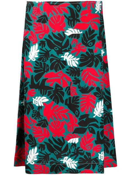 Marni botanical-print A-line skirt in green