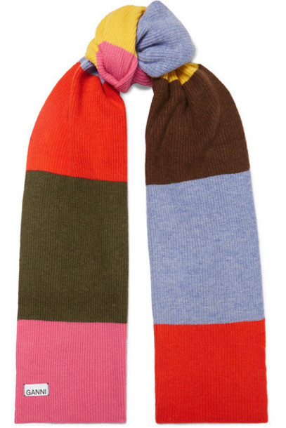 GANNI - Striped Wool-blend Scarf - Pink