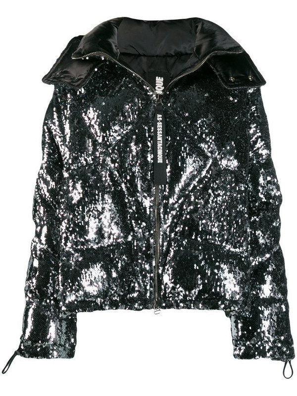 As65 sequin embellished jacket in silver