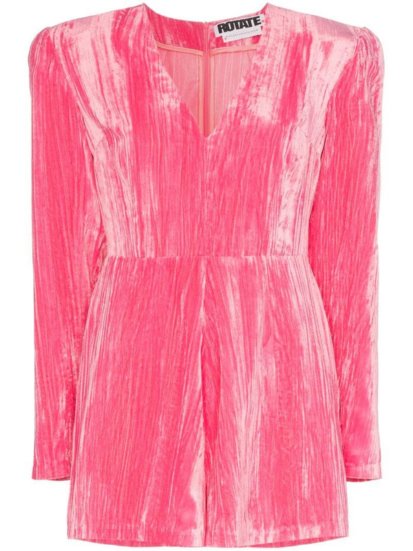 ROTATE Adelina velvet playsuit in pink