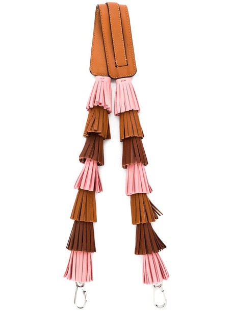 LOEWE fringed bag strap in brown