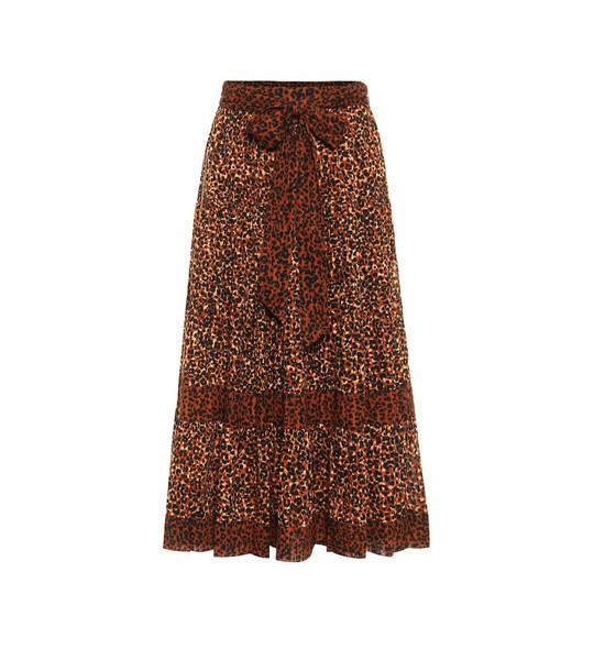 Ulla Johnson Sierra leopard-print cotton midi skirt in brown