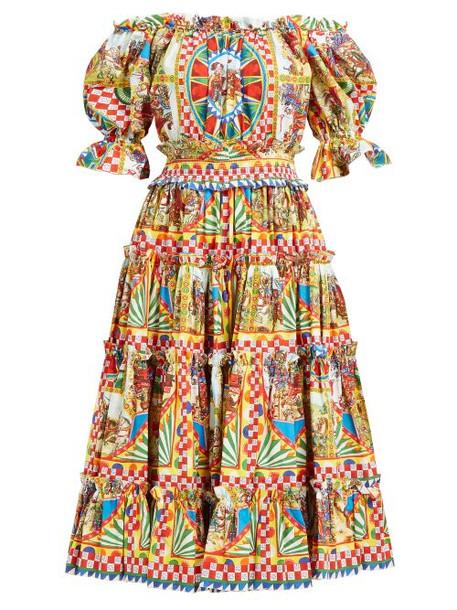 Dolce & Gabbana - Carretto Print Off The Shoulder Cotton Midi Dress - Womens - Yellow Multi