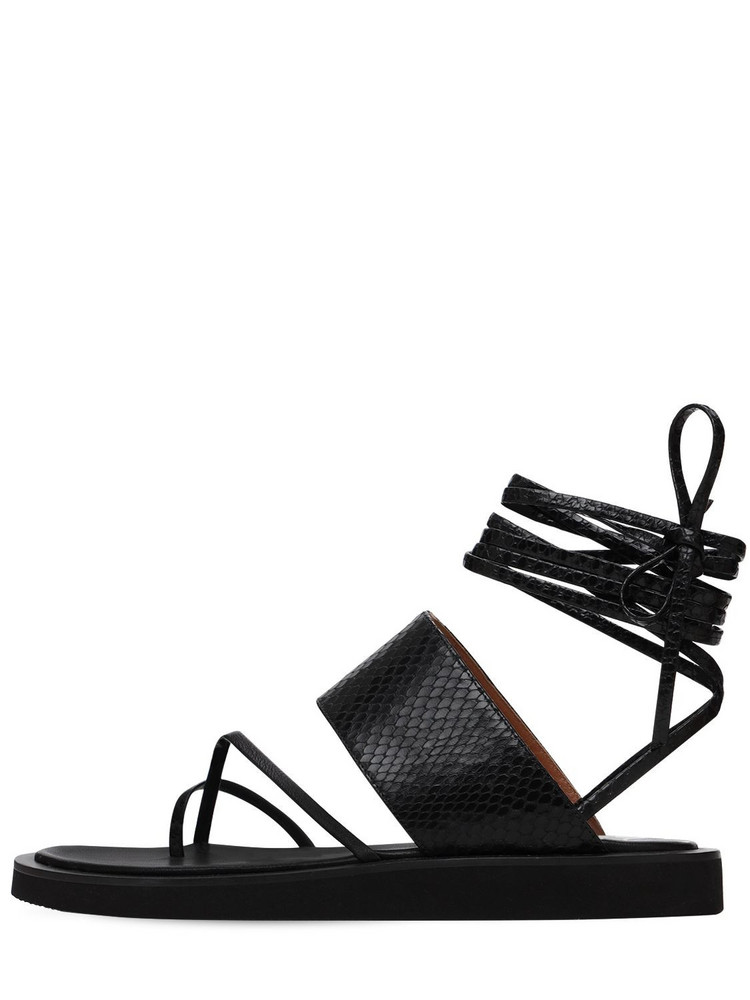 PARIS TEXAS 20mm Python Print Leather Thong Sandals in black