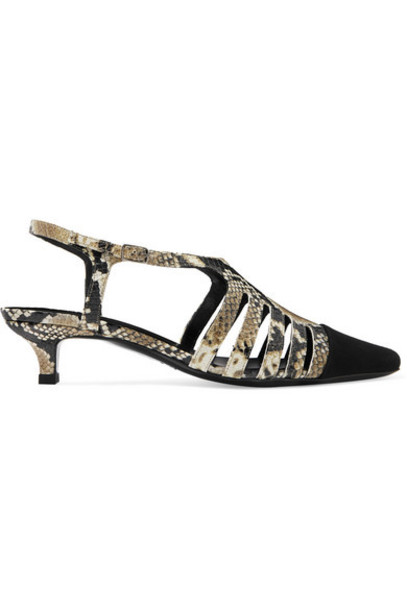 BY FAR - Savannah Cutout Snake-effect Leather And Suede Slingback Pumps - Snake print