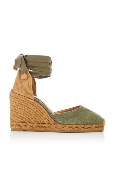 Castañer Carina Tie Canvas Espadrille Wedge Sandals in green