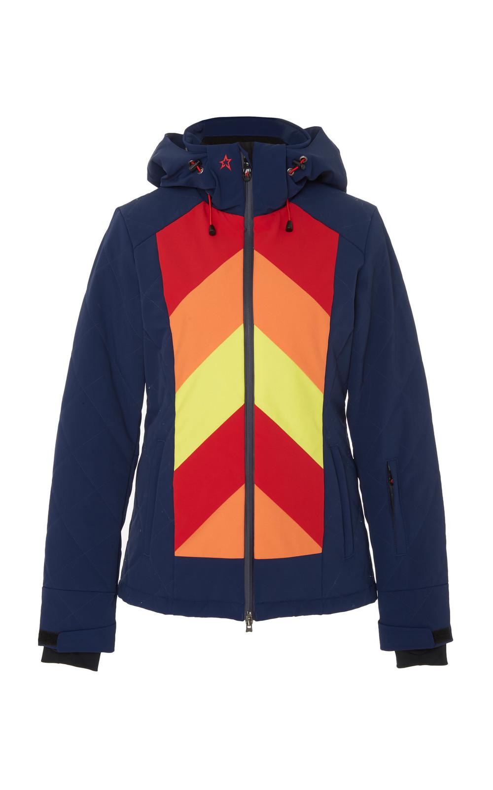 Perfect Moment Tignes Chevron-Print Shell Hooded Ski Jacket in navy
