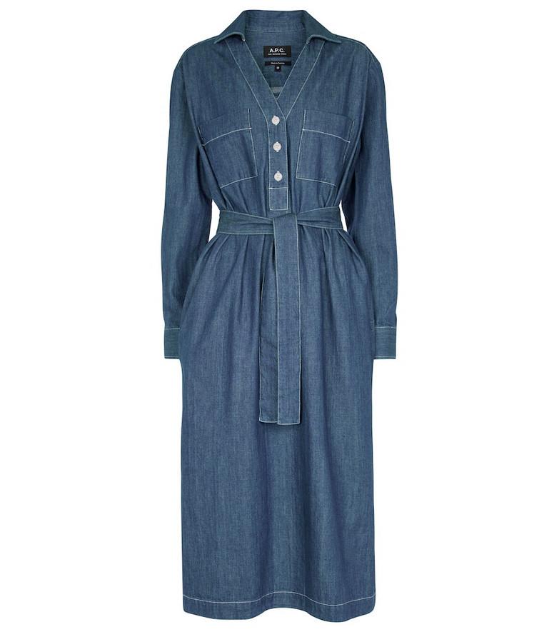 A.P.C. Evelyn denim midi dress in blue