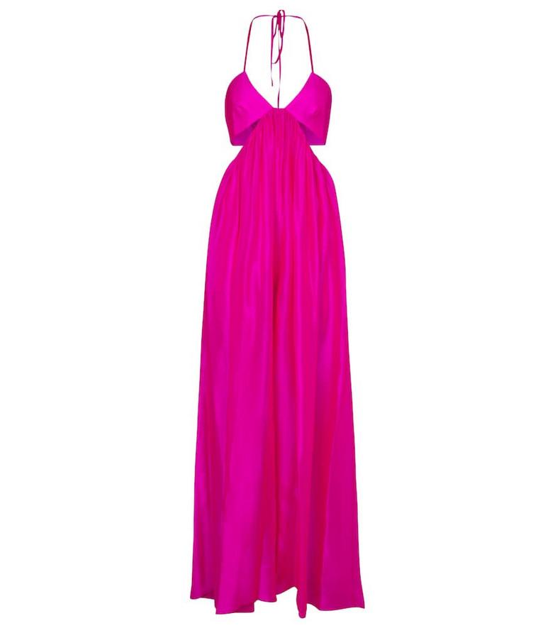 Alexandre Vauthier Halterneck silk jumpsuit in pink