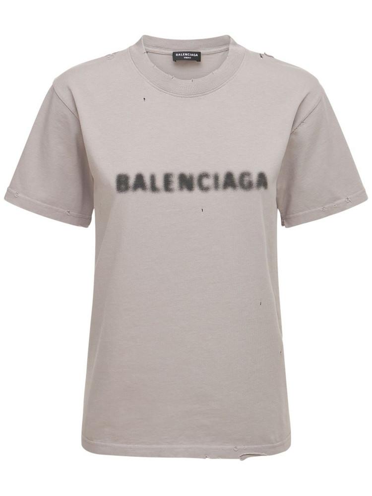 BALENCIAGA Cotton Jersey Vintage T-shirt in grey