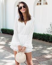 jumpsuit,romper,white romper,long sleeves,handbag,wood