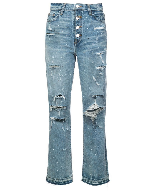 AMIRI crystal studded straight jeans in blue