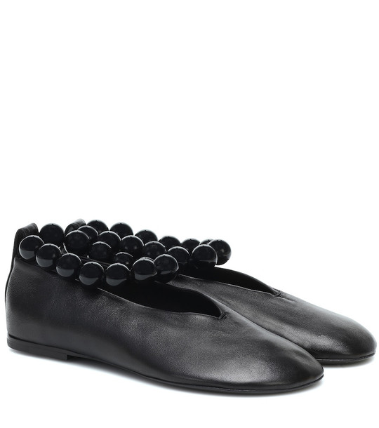 Jil Sander Glove leather ballet flats in black
