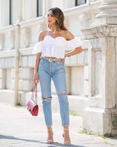 top,white top,crop tops,zara,high waisted jeans,ripped jeans,sandals,pink bag