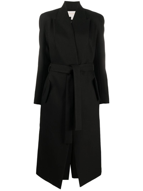 Materiel belted maxi coat in black