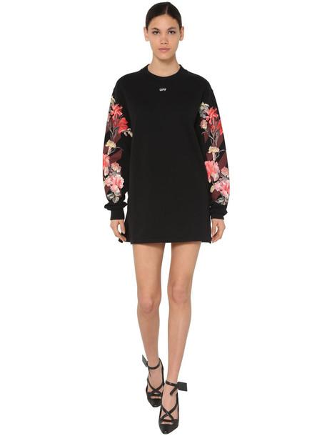 OFF WHITE Floral Print Cotton Sweatshirt Dress in black
