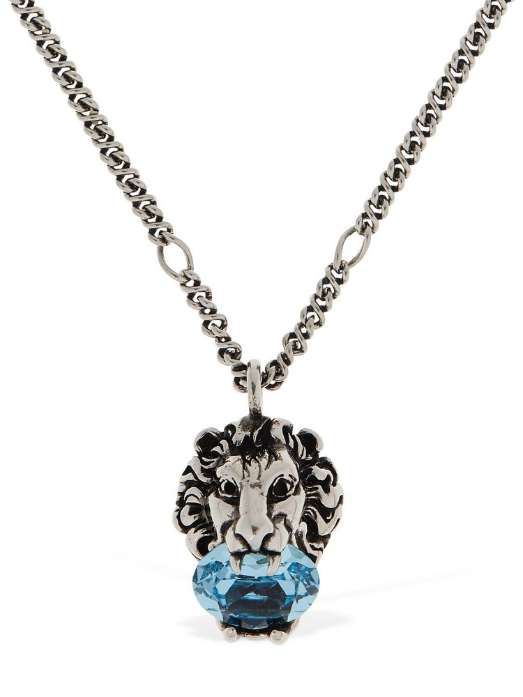 GUCCI Lion Head Crystal Long Necklace in blue / silver