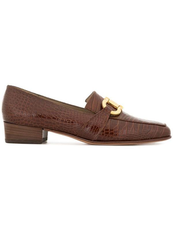 Salvatore Ferragamo Pre-Owned logo horsebit loafers in brown