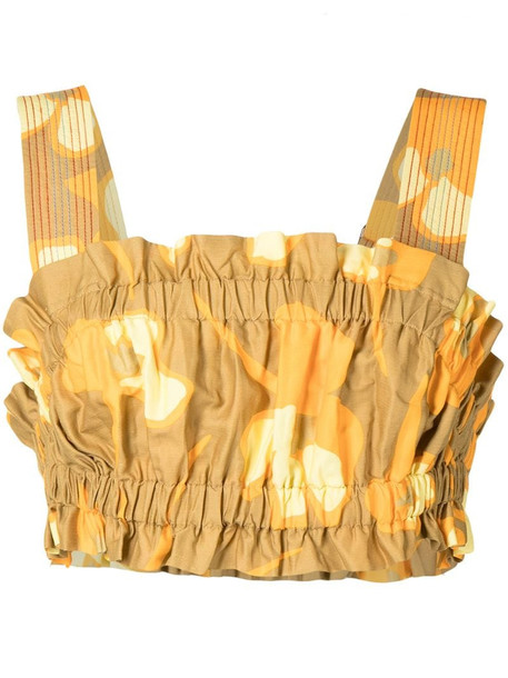 Lee Mathews Wren cropped bodice vest in yellow