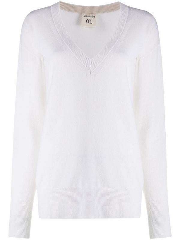 Semicouture V-neck sweater in white
