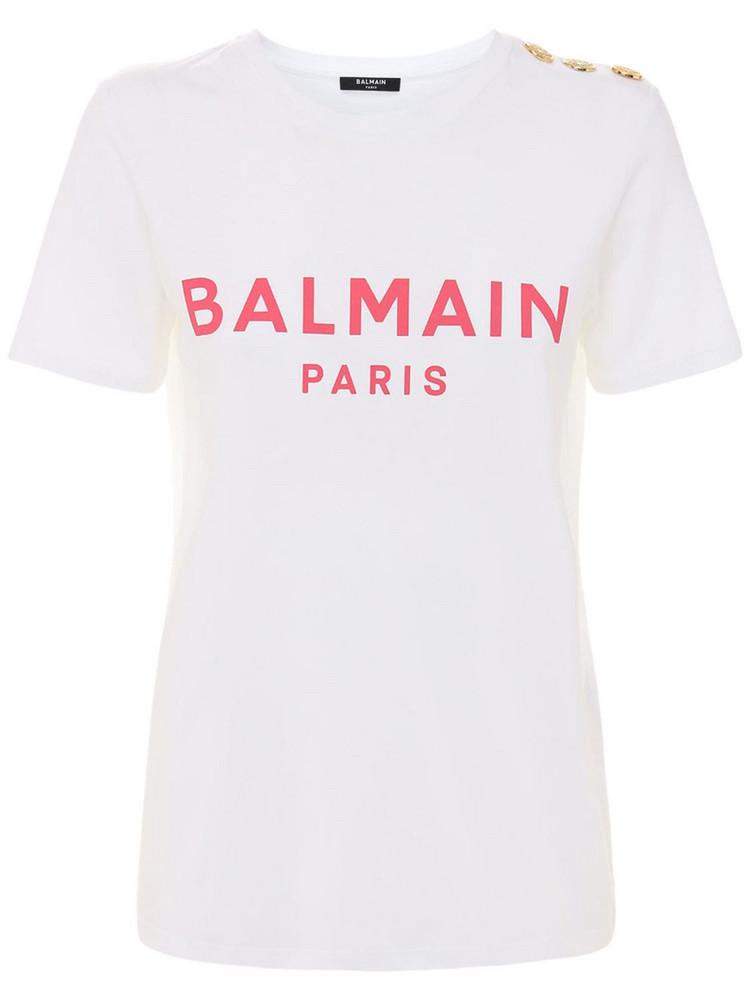 BALMAIN Logo Printed Cotton T-shirt W/ Buttons in pink / white