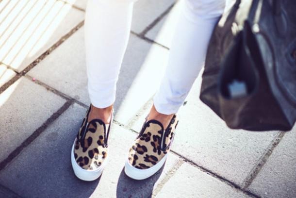 shoes white brown leopard print leopard print