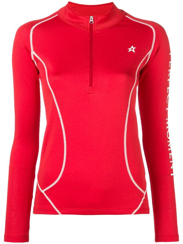 Perfect Moment Thermal half-zip jumper in red