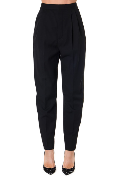 Saint Laurent High Waisted Black Wool Trousers With Satin Stripes