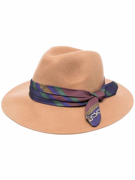 Lauren Ralph Lauren bow-detail fedora hat - Neutrals