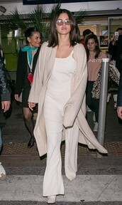 sweater,neutral,nude,cardigan,pants,top,selena gomez,celebrity,spring outfits