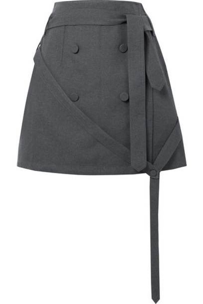 Rokh - Belted Button-embellished Twill Wrap Mini Skirt - Anthracite