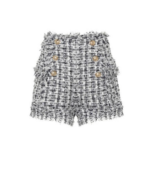 Balmain Bouclé tweed shorts in blue