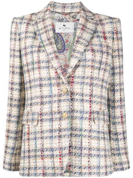 Etro bouclé single-breasted blazer in neutrals