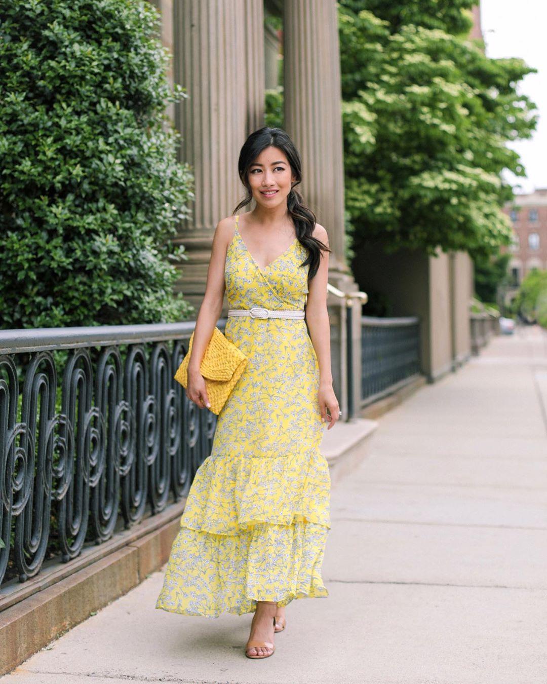 dress maxi dress yellow dress sleeveless dress sandal heels handbag belt