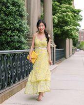 dress,maxi dress,yellow dress,sleeveless dress,sandal heels,handbag,belt