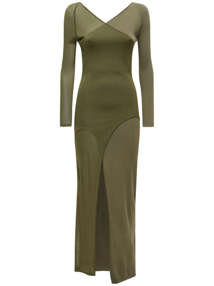 DION LEE Shadow Inverse Viscose Blend Knit Dress in green