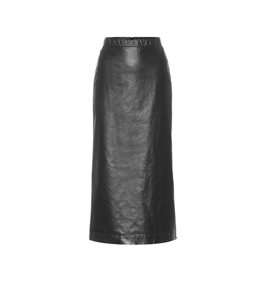 Dries Van Noten Faux leather midi skirt in black
