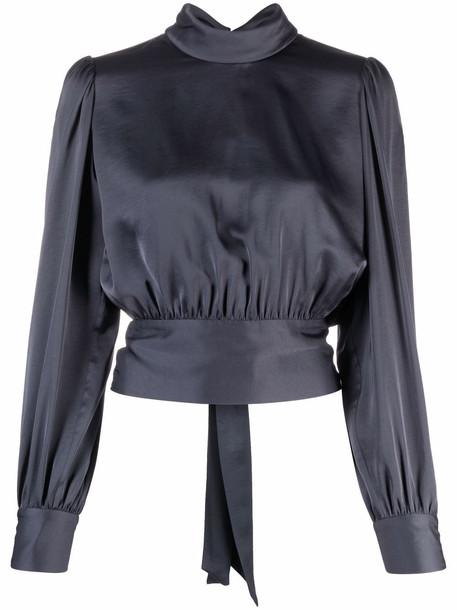 HUGO rear-tied long sleeve blouse - Blue
