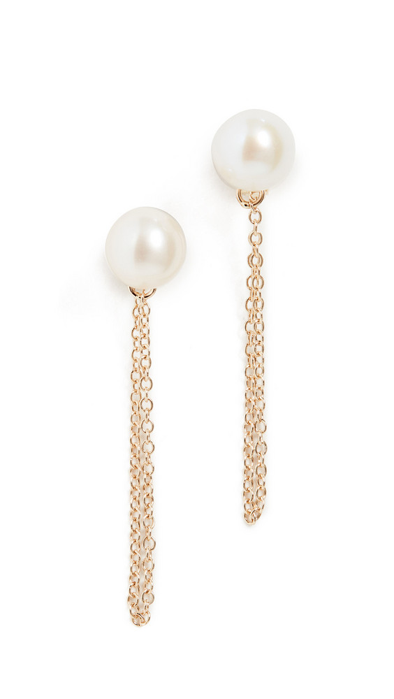 Mateo 14k Pearl Studs with Chain Drop Earrings in gold / yellow