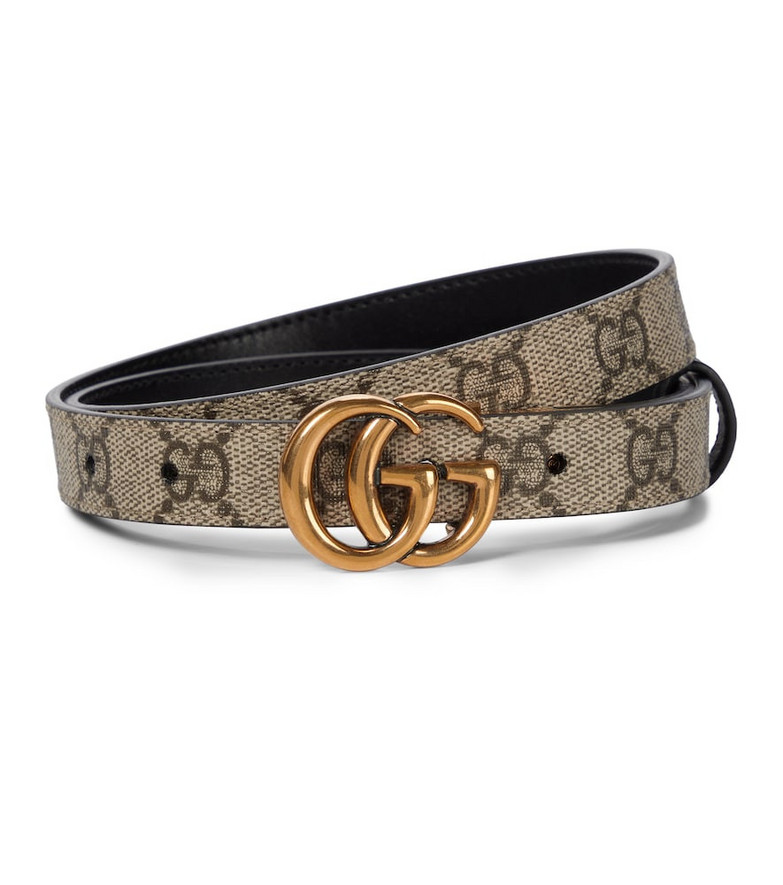 Gucci GG Supreme and leather reversible belt in beige
