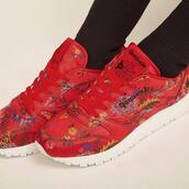sneakers,red sneaker,shoes,Reebok,floral
