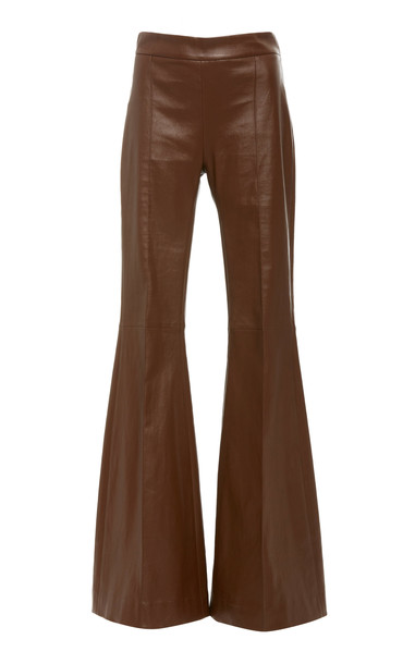 Rosetta Getty Pintuck Leather Flared Pants Size: 4
