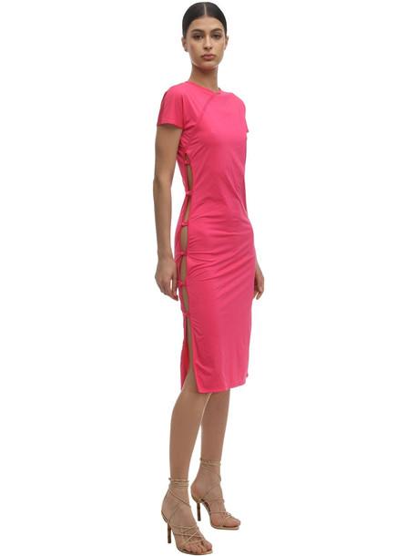MARCIA Econyl Dress W/ Open Sides in fuchsia