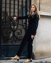 pants,velvet,heel boots,blazer,cardigan,white turtleneck top