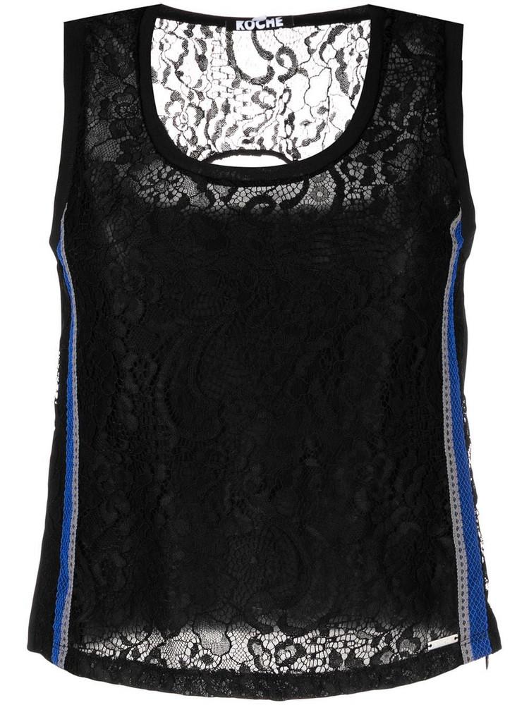 Koché Koché striped embroidered sleevless top - Black