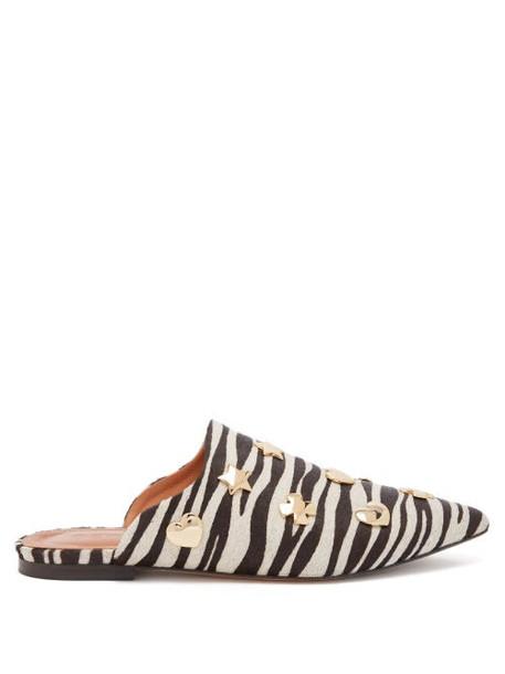 Osman - Heidi Zebra Print Calf Hair Backless Loafers - Womens - Black White