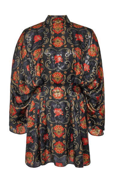 Etro Printed Silk Mini Dress in black